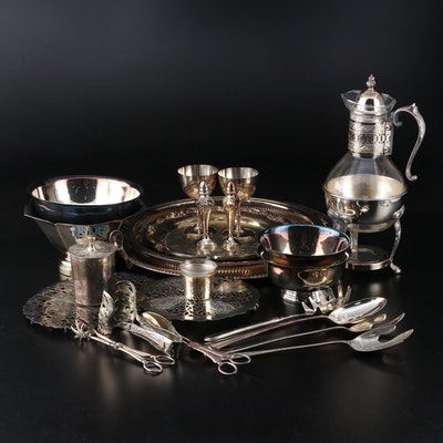 Silver Plate Serveware with Crest Hills Country Club Governor's Cup Trophies