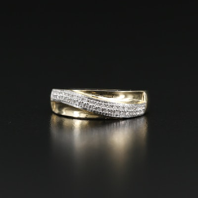 14K Diamond Crossover Band