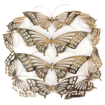 Brass Plated Butterfly Wall Décor, Mid-20th Century