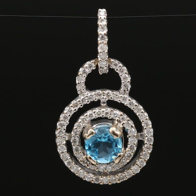 14K Topaz and Diamond Double Halo Pendant