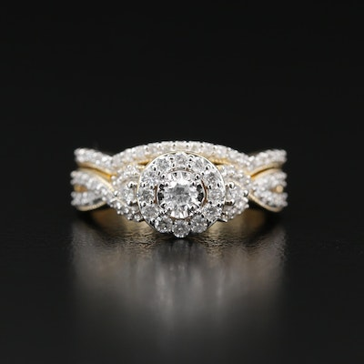 14K Diamond Ring and Fitted Band