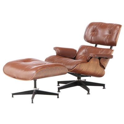 Charles and Ray Eames for Herman Miller Rosewood Lounge Chair and Ottoman, 1970s