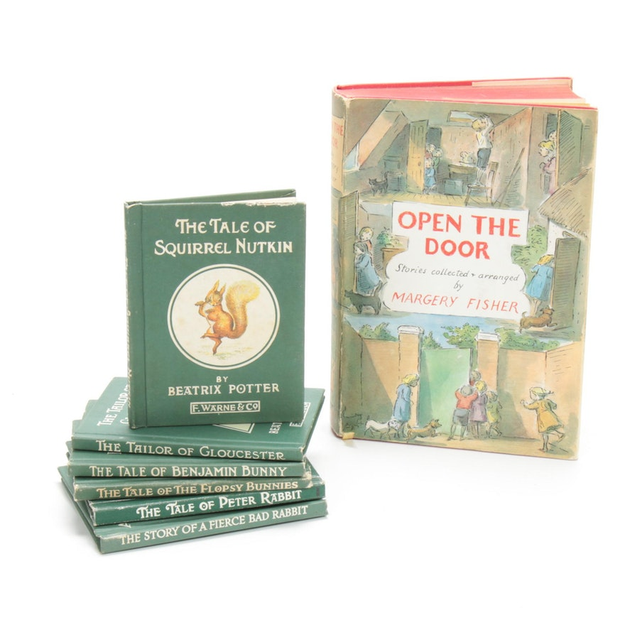 """Signed """"Open the Door"""" by Margery Fisher with Beatrix Potter Books"""
