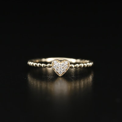 14K Pavé Diamond Heart Ring