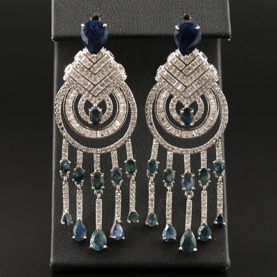 Sterling Sapphire and Cubic Zirconia Concentric Chandelier Earrings