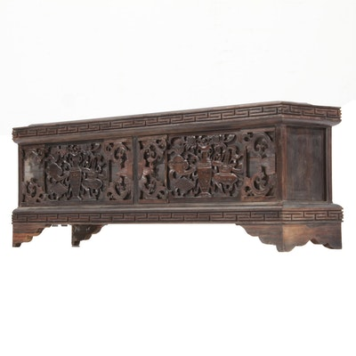 Chinese Rosewood Carved Architectural Fragment, Early to Mid 20th Century