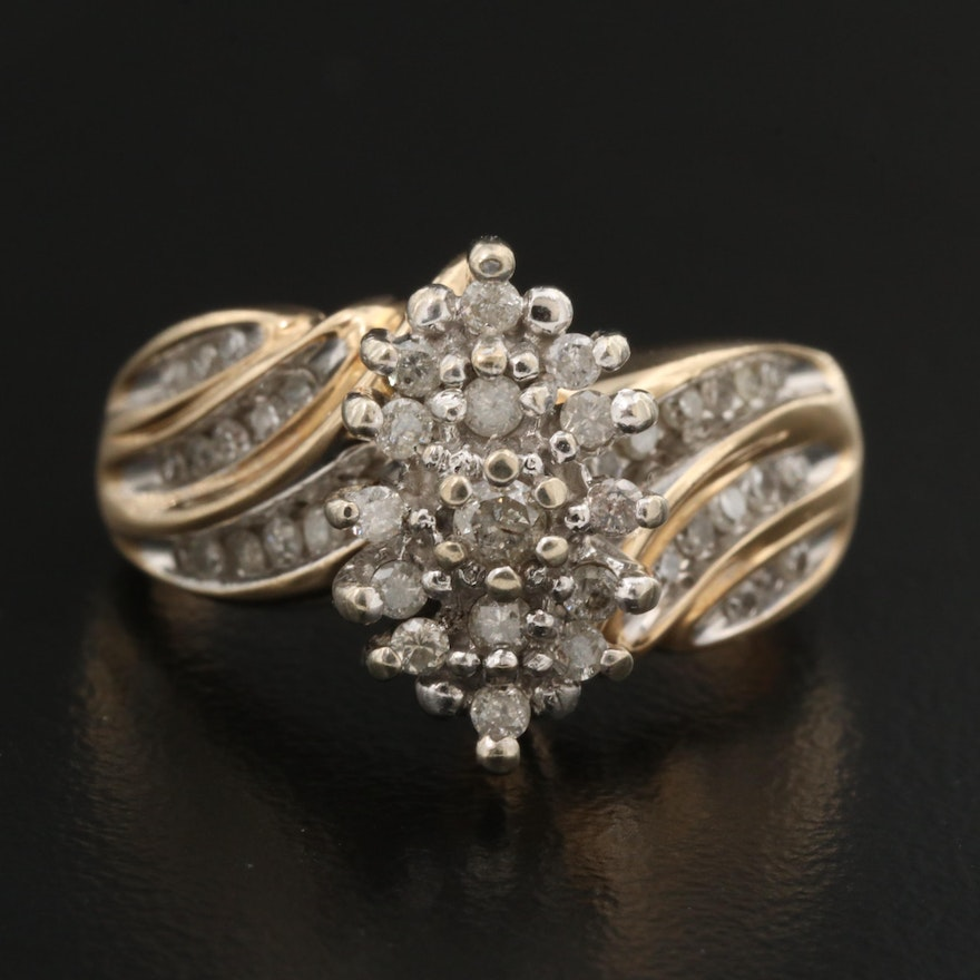 10K Diamond Navette Cluster Ring