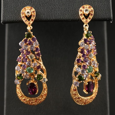 Sterling Rhodolite Garnet, Tanzanite and Emerald Cluster Teardrop Earrings