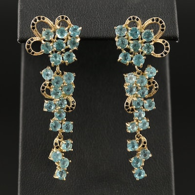 Sterling Silver Apatite and Cubic Zirconia Graduated Cluster Earrings
