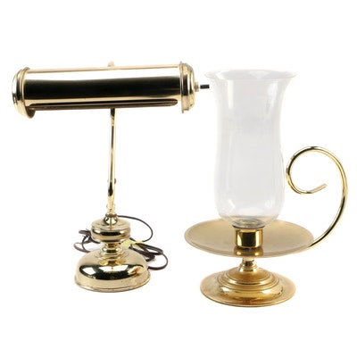Baldwin Brass Hurricane Candleholder and Brass Desk Lamp, Mid to Late 20th C.