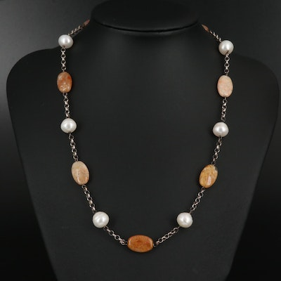 Sterling Silver Station Necklace with Peal and Agate