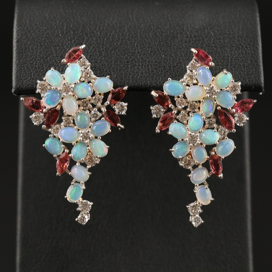 Sterling Floral Cluster Earrings with Opal, Cubic Zirconia and Tourmaline