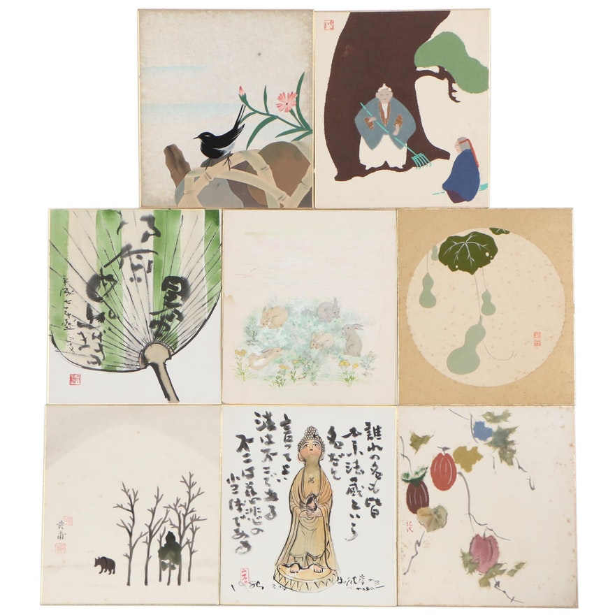 East Asian Mixed Media Works on Paper