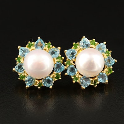 Sterling Silver Pearl, Diopside and Topaz Halo Button Earrings