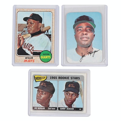 1965 Joe Morgan Topps Rookie and 1969 Super with 1968 Willie Mays