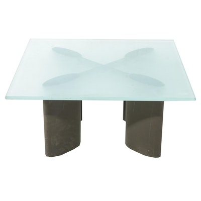 Modern Metal Coffee Table with Frosted Glass Top, 21st Century