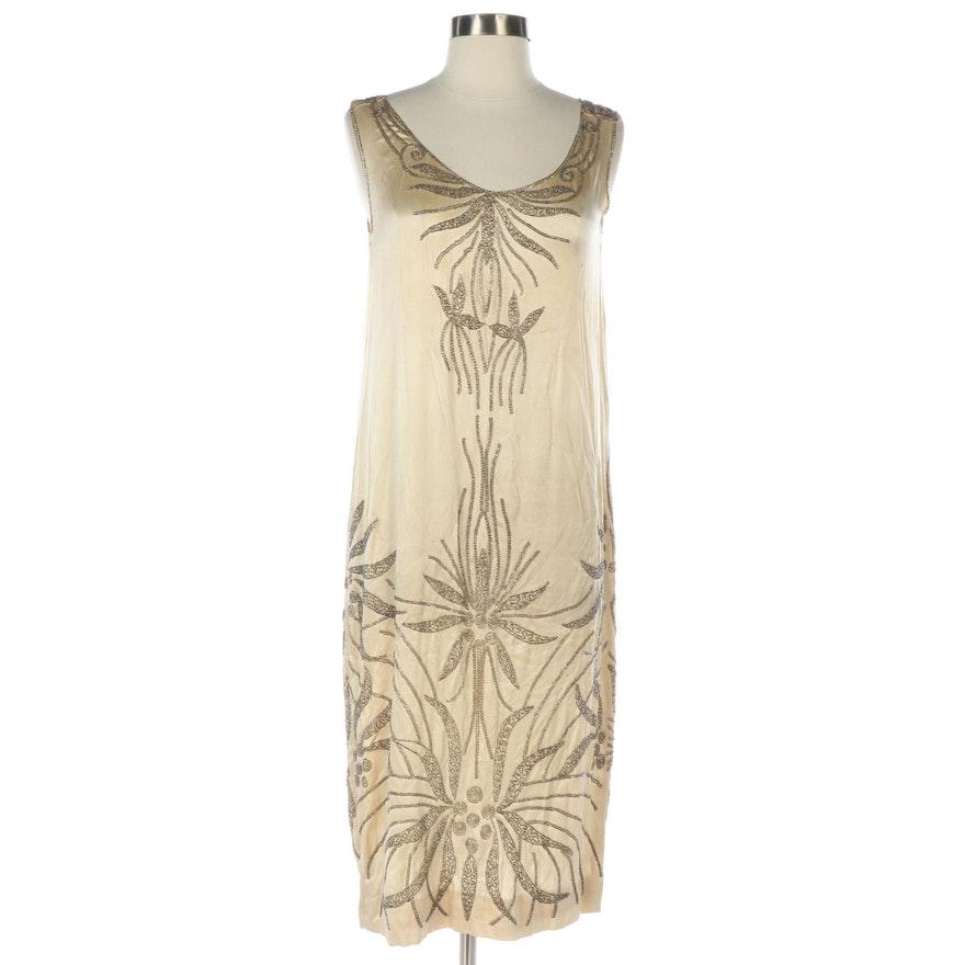 Art Deco Beaded Ivory Silk Charmeuse Sleeveless Shift Dress, circa 1920