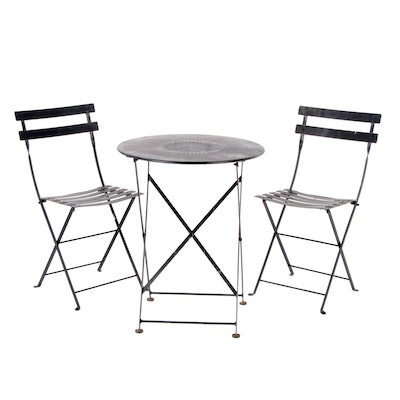 3-Piece Metal Bistro Set, Late 20th Century