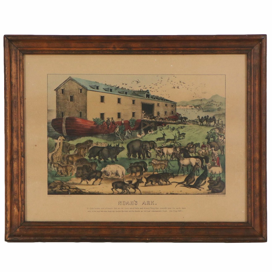"""Currier & Ives Hand-colored Lithograph """"Noah's Ark"""", 19th Century"""