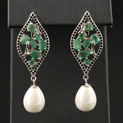 Sterling Silver Emerald and Glass Drop Earrings