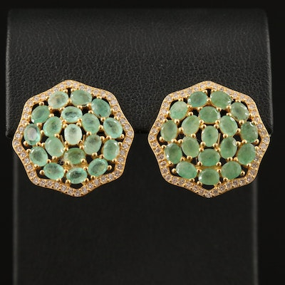 Sterling Silver Emerald Cluster Earrings with Cubic Zirconia