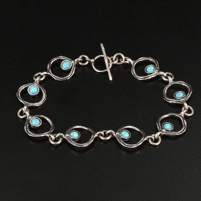 Sterling Silver Opal Circular Link Bracelet