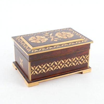 Russian Folk Art Straw Inlaid Wooden Jewelry Box, Mid to Late 20th C.