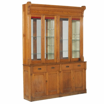 Late Victorian Style Oak Store Display Cabinet, 20th Century