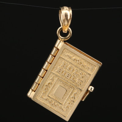 14K Holy Bible with Lord's Prayer Articulated Charm Pendant