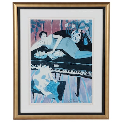 Offset Lithograph of Woman on Piano After George Hamilton