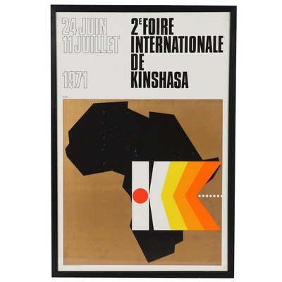 "Lithograph Poster ""2e Foire Internationale de Kinshasa"", 1971"