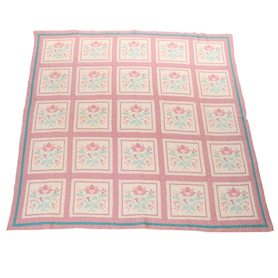 Flower Garden Pink and White Tulip Cheater Quilt Bed Spread