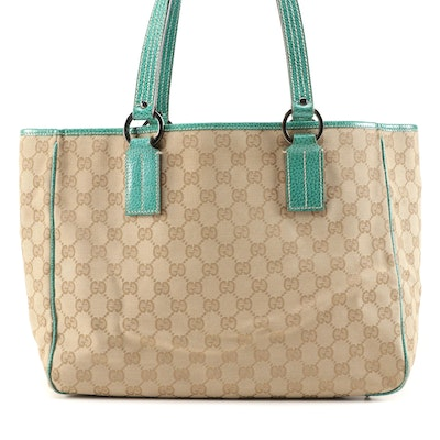 Gucci GG Canvas and Green Leather Shoulder Tote