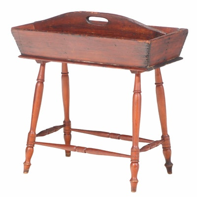 American Primitive Cutlery Tray on Maple Stand, 19th Century