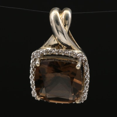 Sterling Silver Smoky Quartz and Diamond Halo Pendant