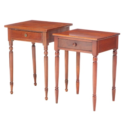 Two Sheraton Cherrywood Single-Drawer Work Tables, 19th Century