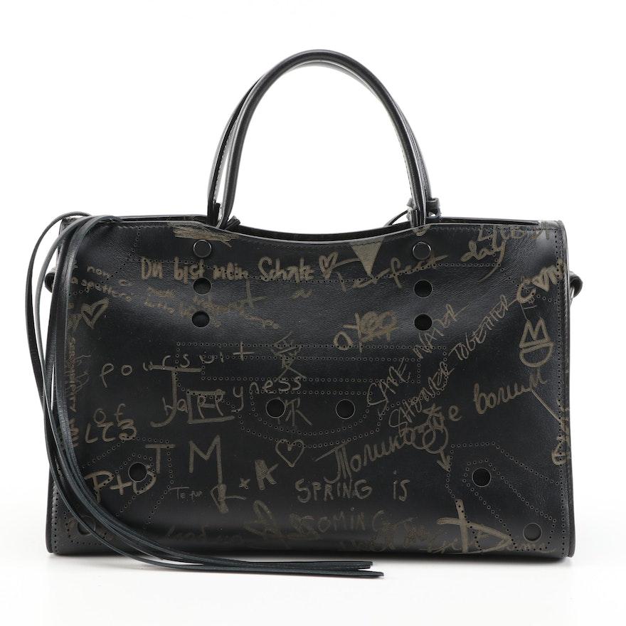 Balenciagia Blackout City Graffiti Print Handbag in Black Leather