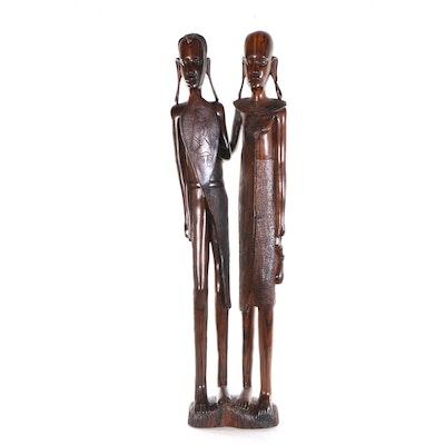 David Masaku Hand-Carved Sculpture of Masaai Peoples, 1999