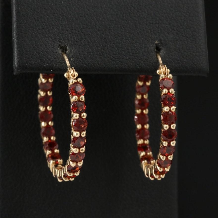 14K Garnet Inside-Out Hoop Earrings