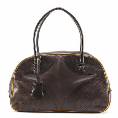 Refurbished Prada Perforated Dark Brown Leather Bowler Bag