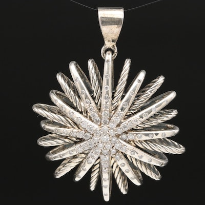 David Yurman Sterling Silver 1.22 CTW Diamond Starburst Pendant