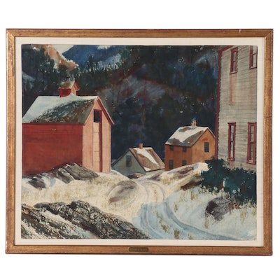 Watercolor Painting Attributed to Harry Emil Olsen of Winter Village Scene