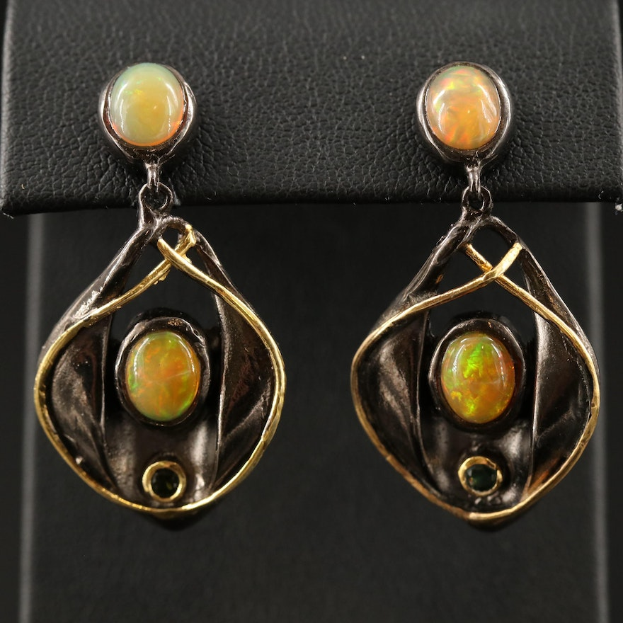Sterling Silver Opal and Tourmaline Dangle Earrings