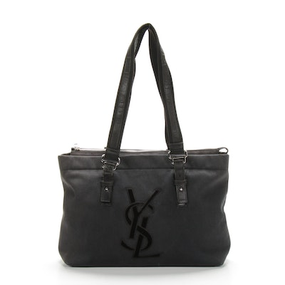 Yves Saint Laurent Rive Gauche Canvas with Velvet Logo Shoulder Bag