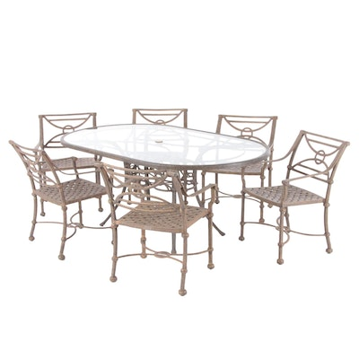 Contemporary Glass Top Metal Patio Dining Set