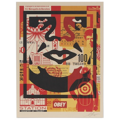 "Shepard Fairey Offset Print ""OBEY 3-Face Collage"", 2020"