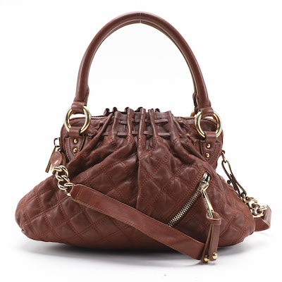 Marc Jacobs Cecelia Two-Way Satchel in Brown Lattice Stitch Leather