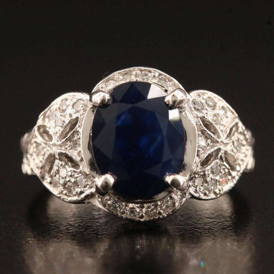 14K 2.40 CT Sapphire and Diamond Ring with Cut Out Detail