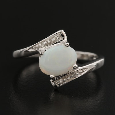 10K Oval Opal Cabochon and Diamond Bypass Ring