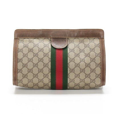 Gucci Accessory Collection GG Supreme Canvas and Leather Clutch